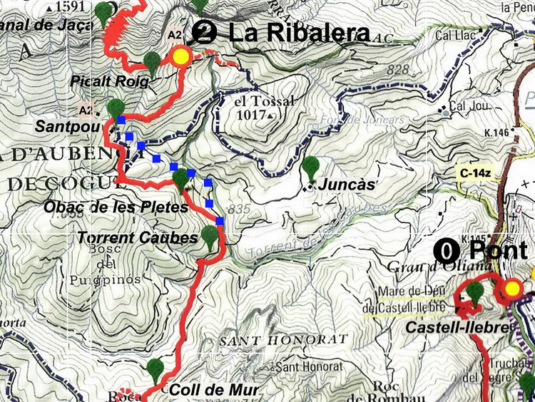 - Map of the paths going to Ribalera. The new route is the one marked in blue.