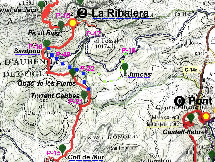 - Map-outline of the work performed. The red line is the road we have followed so far (from P-21 to P-18). The blue dotted line is the new path. The lower section connects the point P-21 (past the Torrent de les Caubes), with the P-22 (on the Juncàs track), until the point P-48 (on the track that goes to Santpou). From this point begins the upper section that goes from the point P-48 to the path of the Ribalera, above the house of Santpou